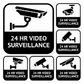 stock photo of hazard symbol  - CCTV labels - JPG