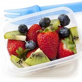 foto of lunch box  - Fruit salad in a plastic lunch box - JPG
