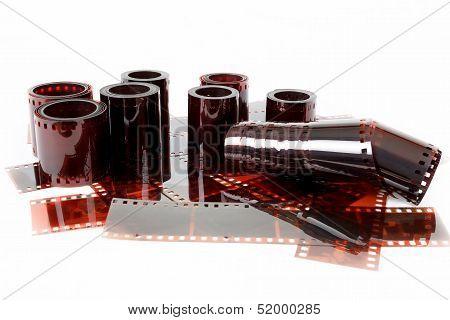 Close Up Image Of  Old 35 Mm Negative Film Strips