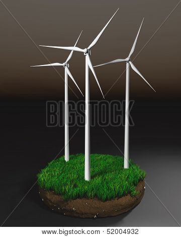 Wind Generators On Clod Of Earth