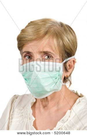 Senior Woman With Protective Mask