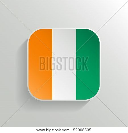Vector Button - Cote D'ivoire Flag Icon
