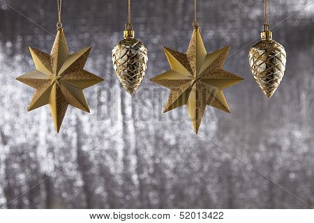 A Group Of Christmas Pine Cone And Star