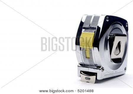 Horizontal View Of A Metal Locking Tape Measure