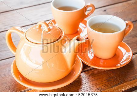 Set Of Hot Cups And Teapot