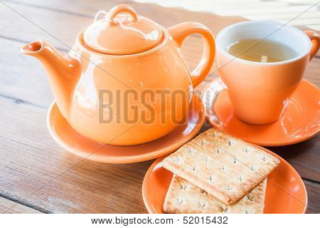 Hot Teapot And Ceramic Cup