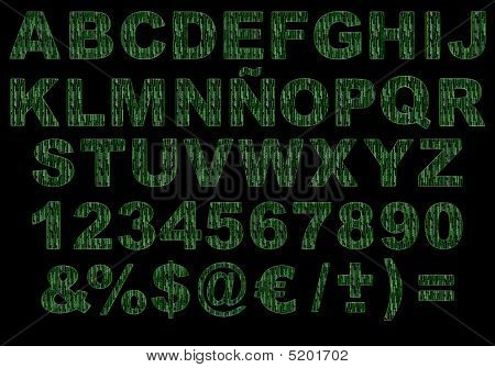 3D Matrix Green Code Alphabet Isolated