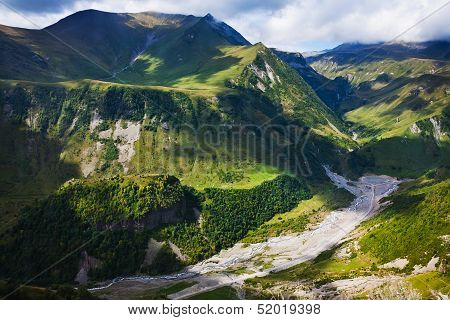Aragvi River Valley In Caucasus Mountains