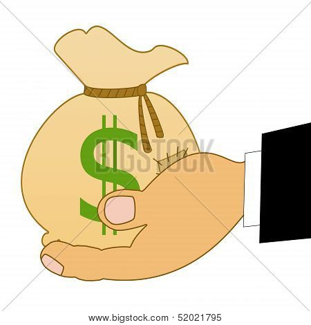 Sack With A Sign Dollars On A Hand