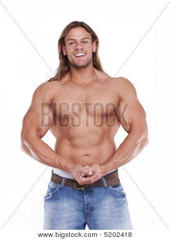 Constructor de Atlético cuerpo masculino Sexy con el pelo largo Rubio. Gladi