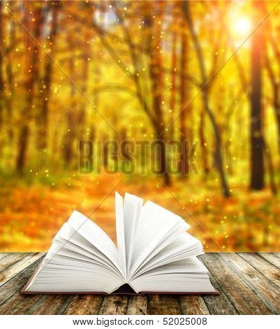 Book of nature on autumn forest background