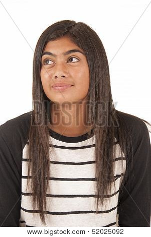 Beautiful Tongan Teenage Girl Portrait Looking Up Away From Camera