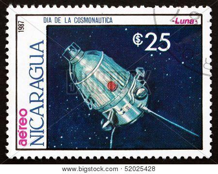 Postage Stamp Nicaragua 1987 Satellite Luna, Space Program