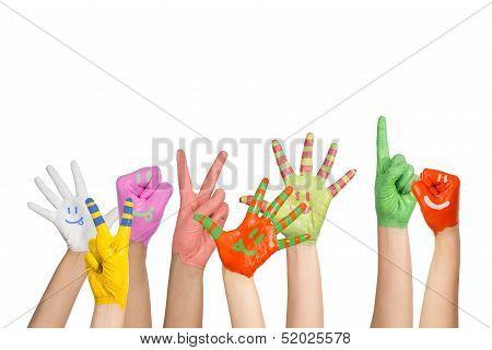 painted children's hands