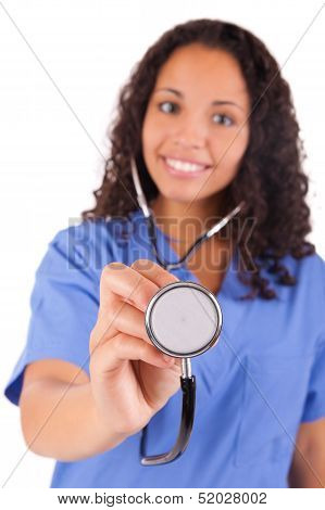 African American Nurse With  Stethoscope