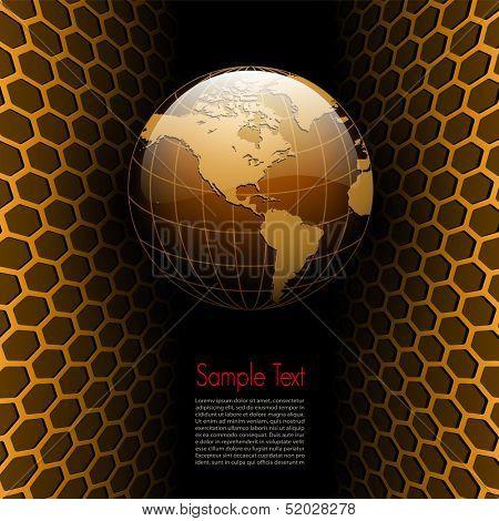 Business background 3D gold. vector illustration.