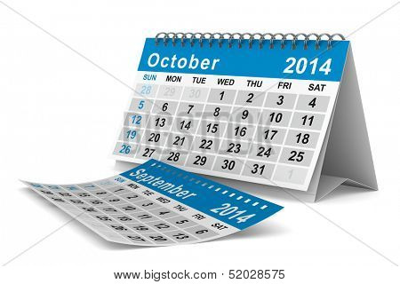 2014 year calendar. October. Isolated 3D image