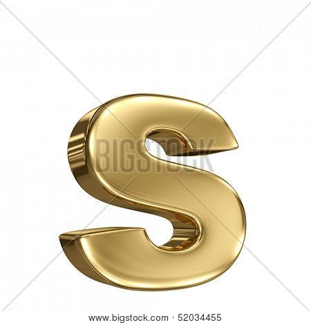 Letter s from gold solid alphabet