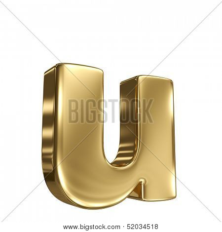 Letter u from gold solid alphabet