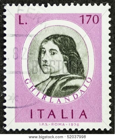 ITALY - CIRCA 1976: a stamp printed in Italy shows image of  Domenico Ghirlandaio (1449 �¢?? 1494) Italian renaissance painter in Florence. Italy, circa 1976