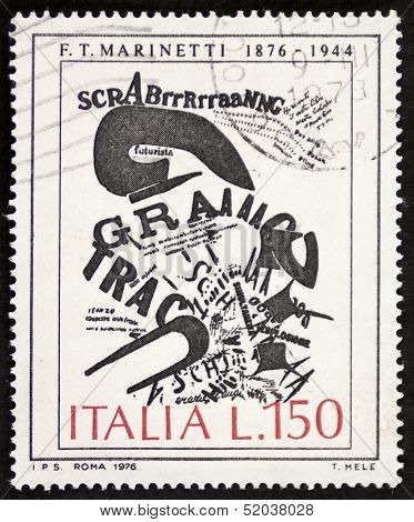 ITALY- CIRCA 1976: a stamp printed in Italy celebrates first centenary of the birth of Filippo Tommaso Marinetti (1876 - 1944), Italian poet founder of the futurist movement. Italy, circa 1976
