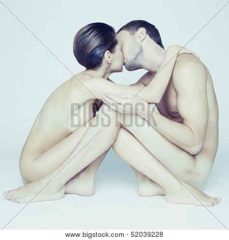 Portrait of young elegant couples on white background