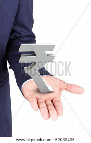 Business Man Holding Rupee Currency Symbol
