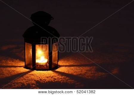 Candle Lamp In Snow