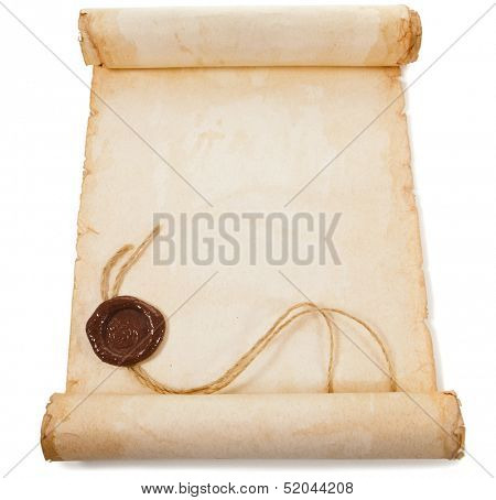 Blank old scroll paper with a wax seal isolated on a white background