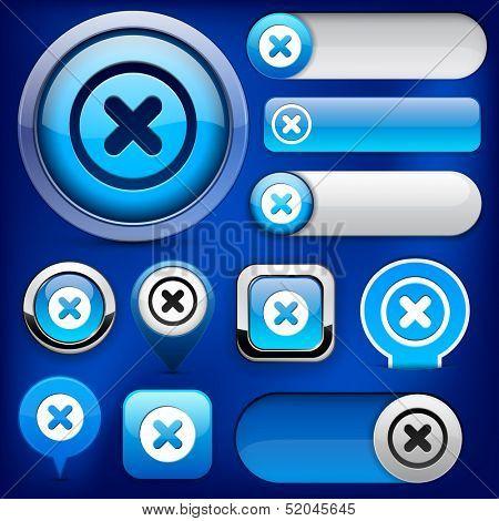 Cross blue design elements for website or app. Vector eps10.