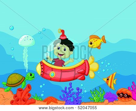 Cartoon a kids in the submarine