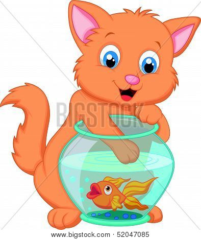 Cartoon Kitten Fishing for Gold Fish in an Aquarium Bowl