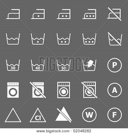 Laundry Icons On Gray Background