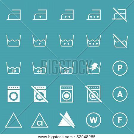 Laundry Icons On Blue Background