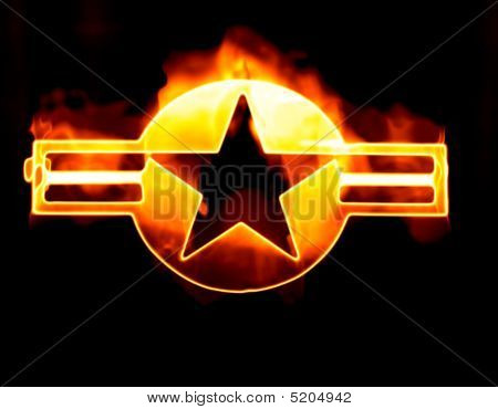 Usaf Roundel Star On Fire