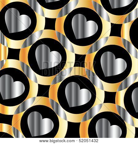 Background with metallic hearts and circles