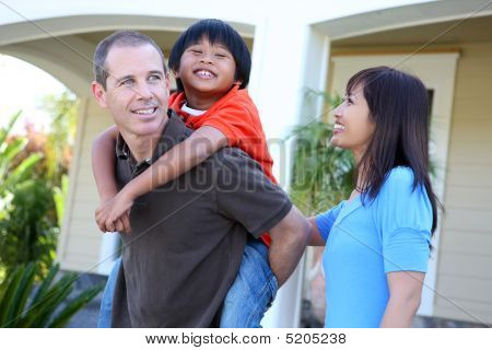 Asian Family At Home