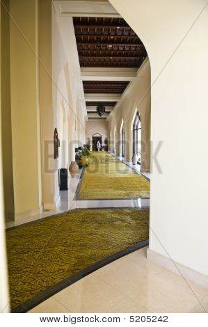 A Luxurious Corridor In A Hotel.