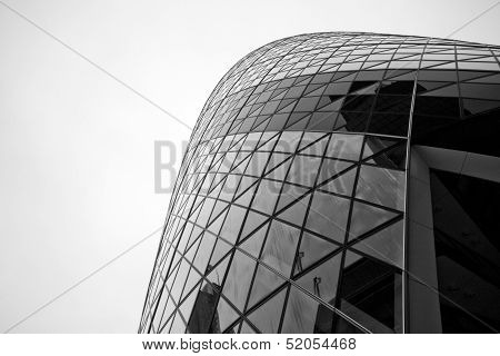 London - September 21: The Modern Glass Buildings Of The 30 St Mary Axe, Swiss Re, Gherkin