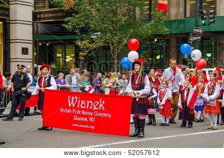 NEW YORK - SEPTEMBER 6: Participants of the 76th Annual Pulaski Day Parade held on September 6, 2013 in New York. Theme for this year Parade was: