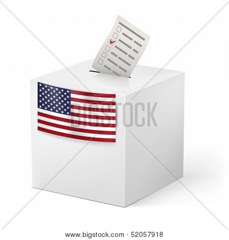 Ballot box with voicing paper. USA.
