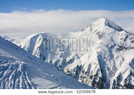 Winter Mountains Landscape In Sunny Day