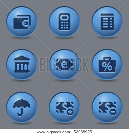 Finance web icons, circle blue buttons