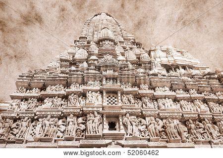 Erotic Temple In Khajuraho, India.
