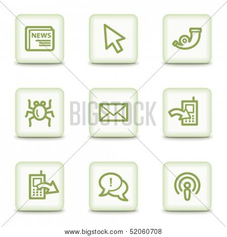 Internet web icons set 2, white glossy buttons