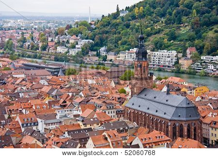 Aerial View To Old Town Of Heidelberg, Germany