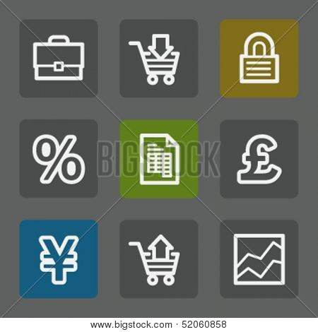 E-business web icons, flat buttons