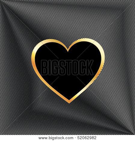 Heart shaped text box on high grade metal background