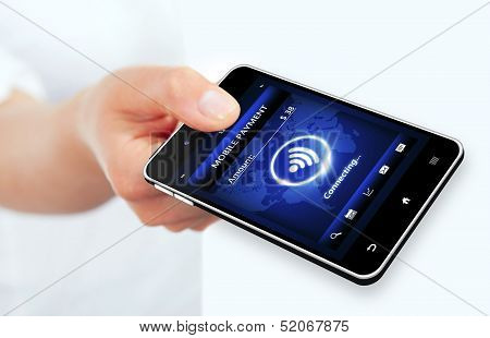 Hand Holding Phone With Mobile Payment Connection