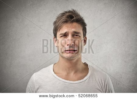 portrait of man crying